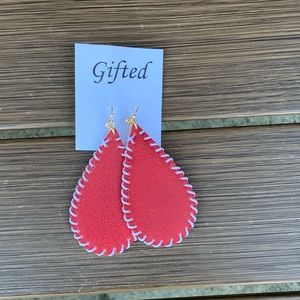Red Leather Earrings NWT